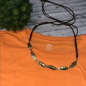 Jewelry - Gold And Leather Leaf Necklace